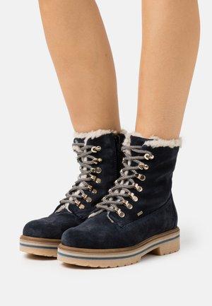 LEATHER  - Platform ankle boots - dark blue