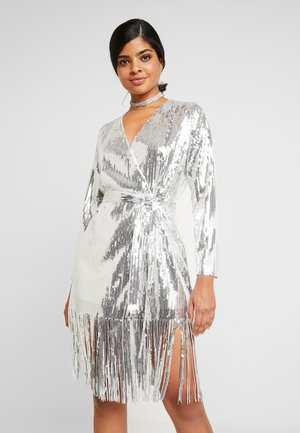 WRAP FRINGE SEQUIN DRESS - Cocktailkjoler / festkjoler - silver