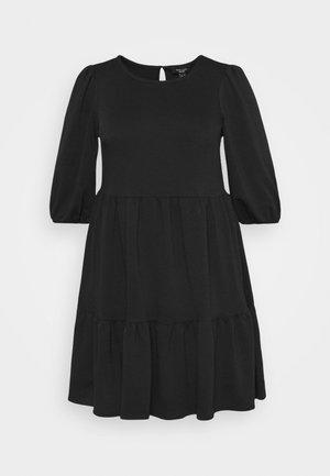 TIER LOOPBACK SMOCK - Jersey dress - black