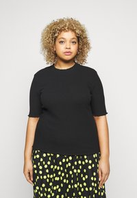 Selected Femme Curve - SLFNANNA CREW NECK TEE CURVE - Printtipaita - black - 0