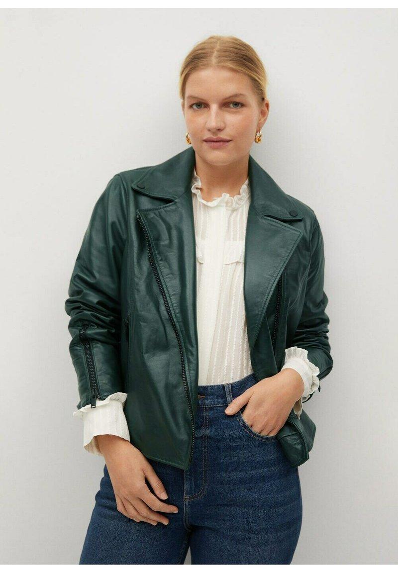 Violeta by Mango - ONETIOR8 - Leather jacket - dunkelgrün