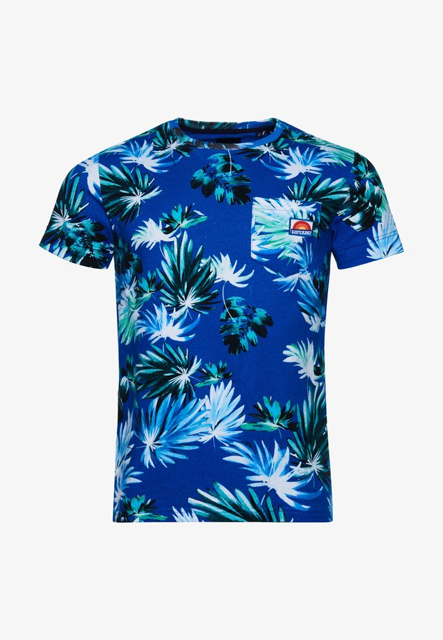 T-shirt con stampa - brush palm blue
