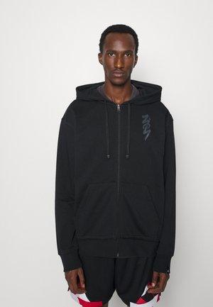 ZION HOODIE - Vetoketjullinen college - black/dark smoke grey