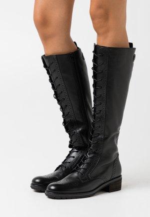 Šněrovací vysoké boty - schwarz