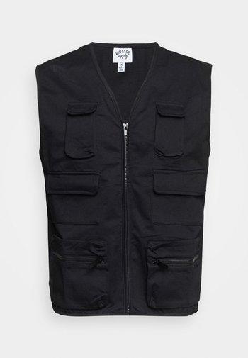 MULTI POCKET UTILITY GILET UNISEX - Waistcoat - black