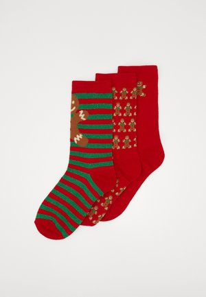 CHRISTMAS GINGERBREAD SOCKS 3 PACK - Socks - red