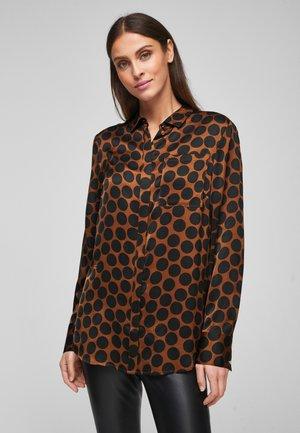 Button-down blouse - brown aop