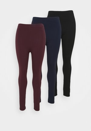 3 PACK - Leggings - black/dark blue/dark red