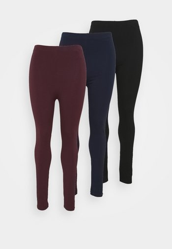 3 PACK - Leggings - black/dark blue/dark red