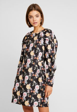 PUFF SLEEVE ROUND NECK MINI DRESS - Day dress - multi coloured