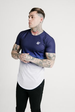 SHADOW FADE - T-shirt print - navy/white