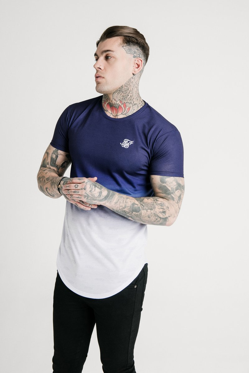 SIKSILK - SHADOW FADE - T-shirt con stampa - navy/white