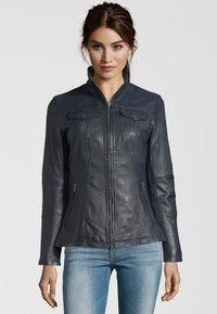 7eleven - PERUGIA  - Leather jacket - navy - 0