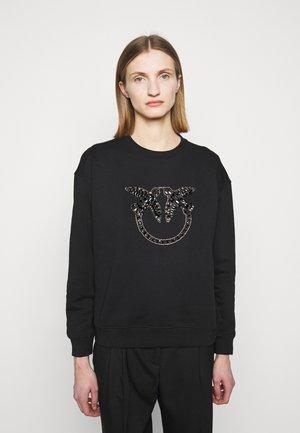 NELLY MAGLIA FELPA DIAGONALE - Sweatshirt - black