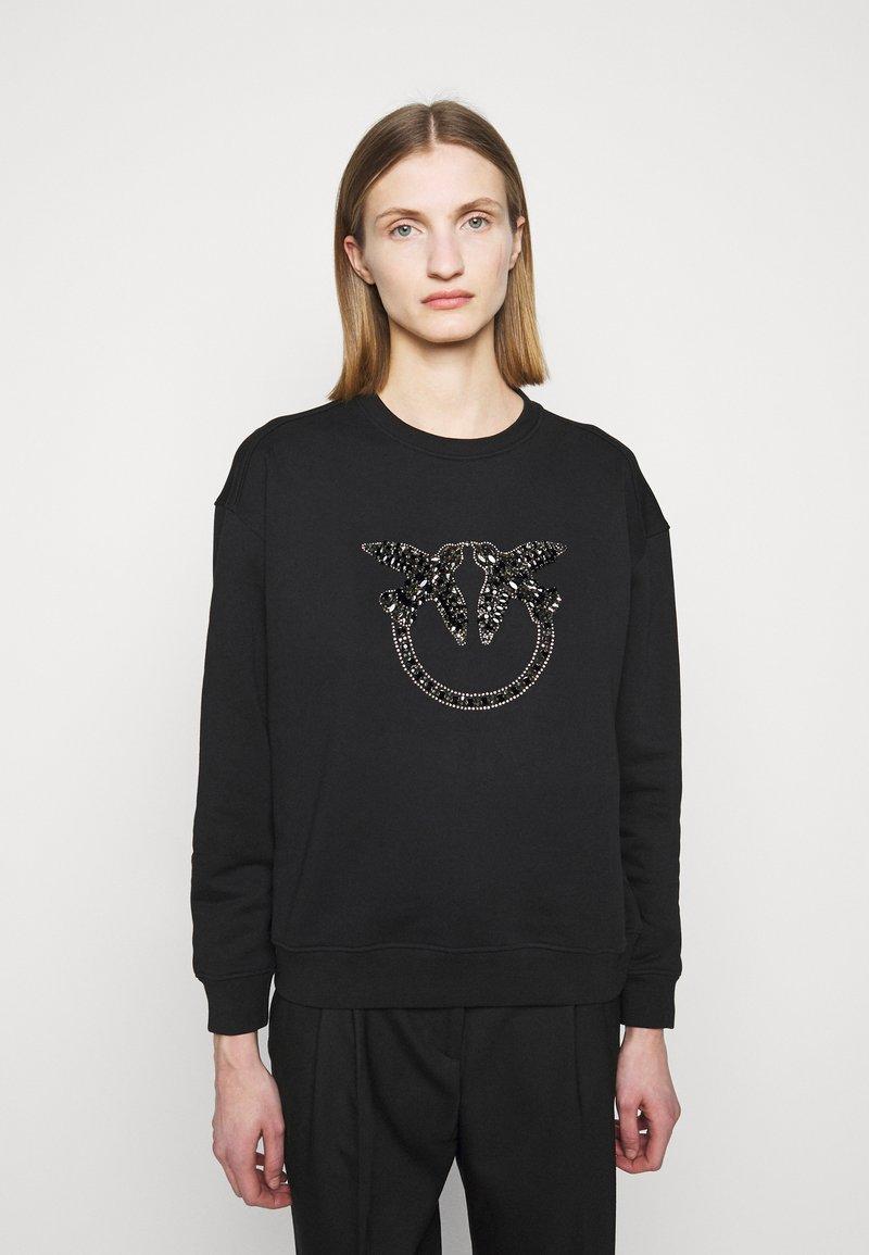 Pinko - NELLY MAGLIA FELPA DIAGONALE - Sweatshirt - black