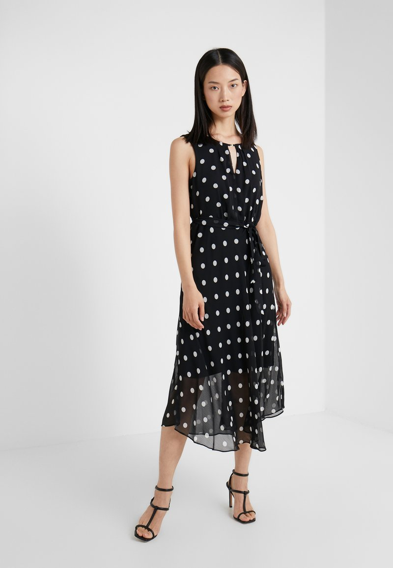 DKNY - KEYHOLE NECK MIDI WITH SELF BELT - Robe d'été - black/cloud