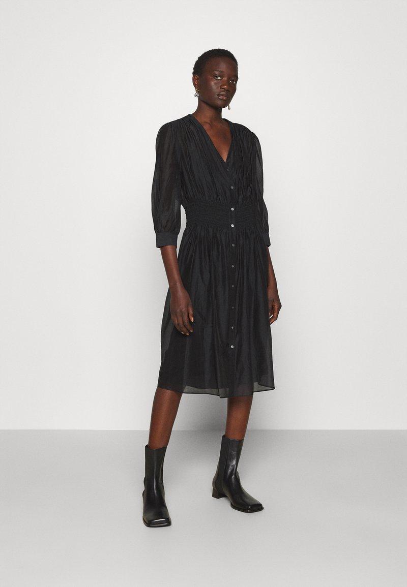 KARL LAGERFELD - DRESS SMOCKING WAIST - Day dress - black