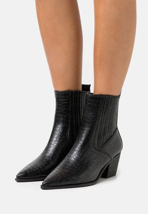 WIDE FIT ROCCO - Cowboy/biker ankle boot - black