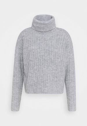 RIBBED BOXY TURTLE NECK - Trui - light grey