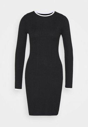 DRESS - Pouzdrové šaty - black/off white