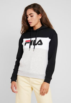 LORI HOODIE - Sweat à capuche - black/ight grey melange/bright white