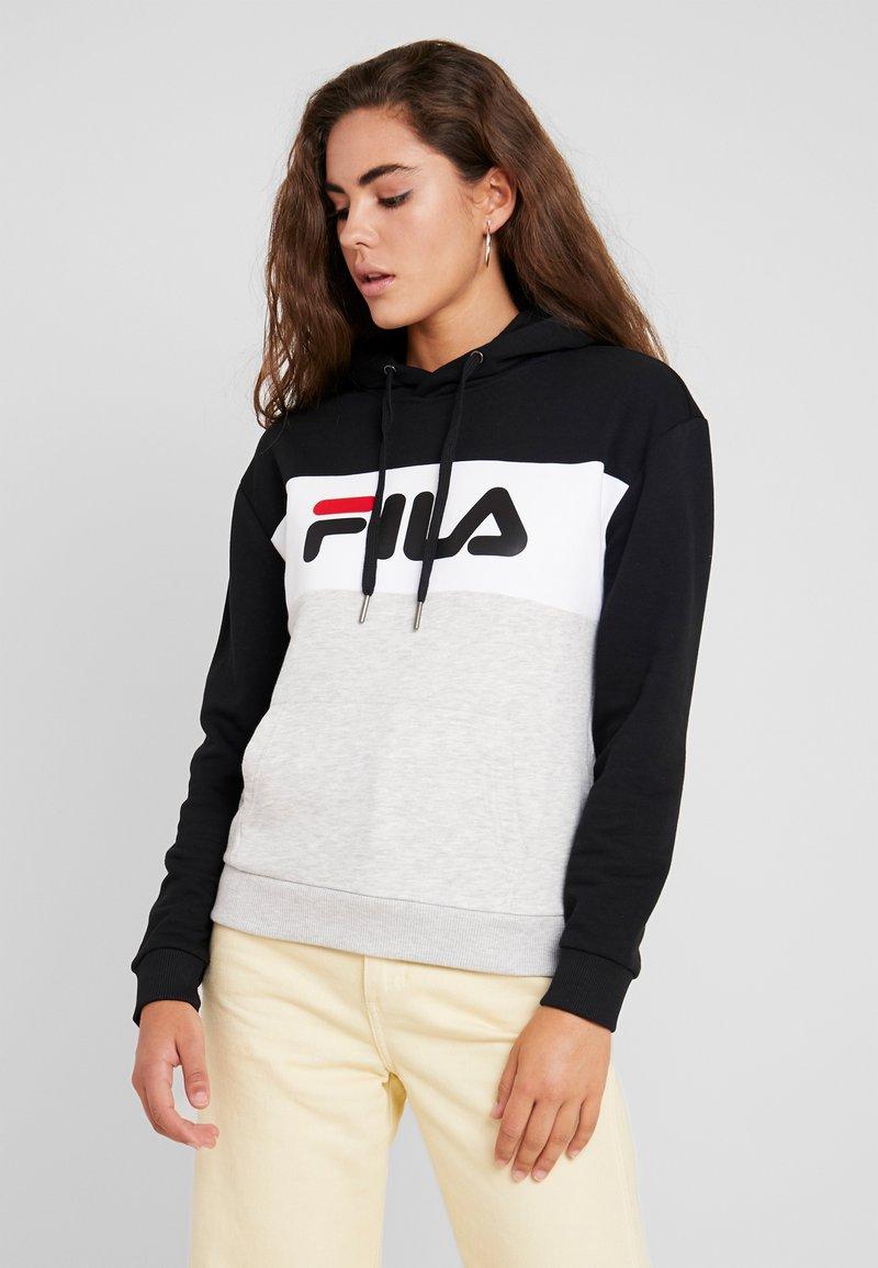 Fila - LORI HOODIE - Bluza z kapturem - black/ight grey melange/bright white