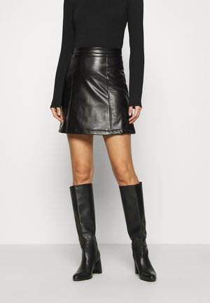 PU leather mini skirt - Mini skirt - black