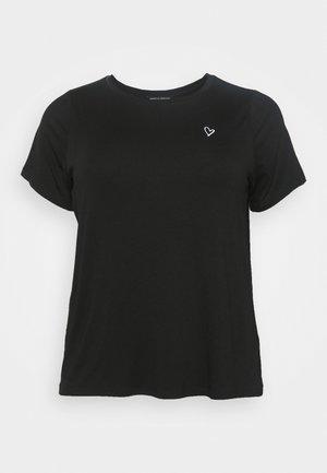 EMBROIDERED HEART SLOGAN TEE - Print T-shirt - black