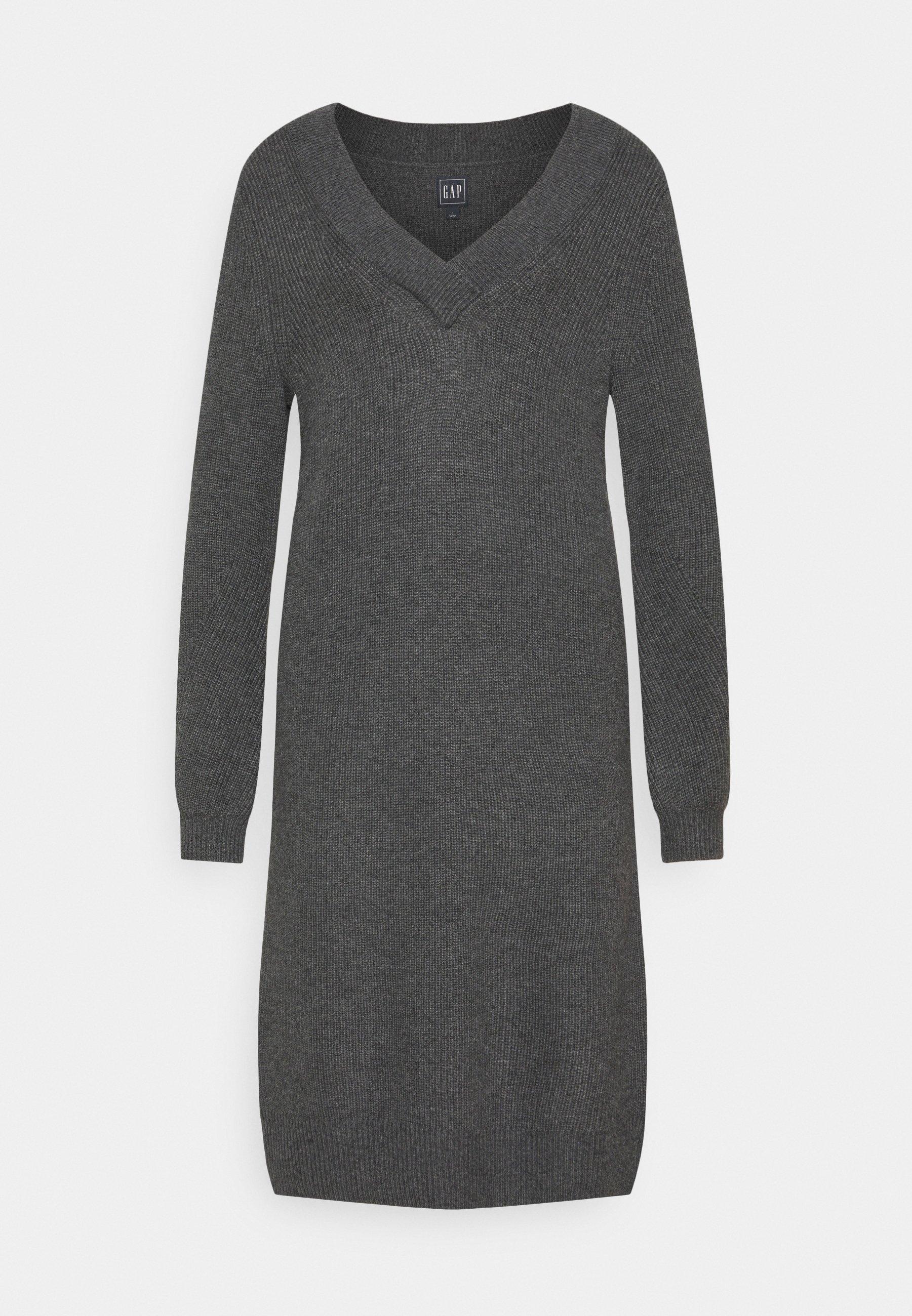 Women CROSSOVER VNECK - Jumper dress - charcoal grey