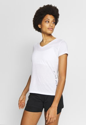 V NECK - T-shirt print - white/black/red