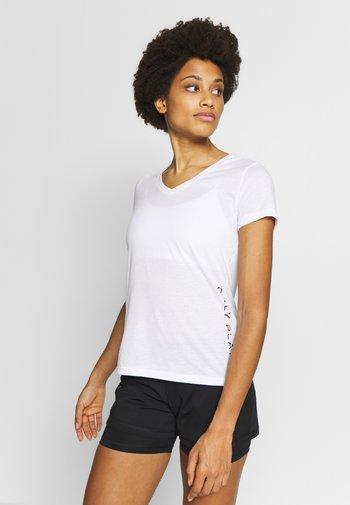 V NECK - T-shirts med print - white/black/red