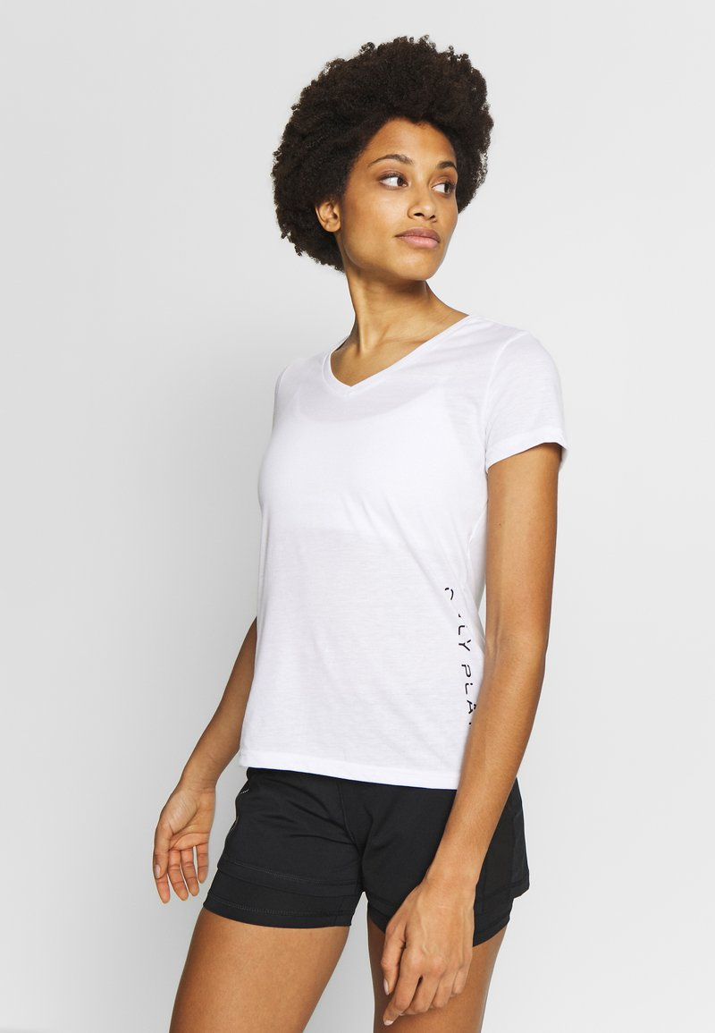 ONLY Play - V NECK - Triko s potiskem - white/black/red