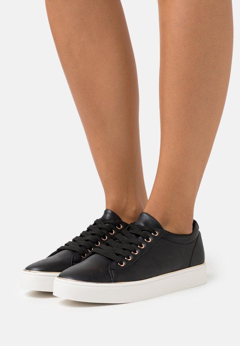 Miss Selfridge - TWIST DETAIL LACE UP TRAINER - Sneakers laag - black