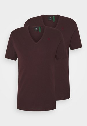 BASE V T 2 PACK - T-shirt - bas - bordeaux/dark red