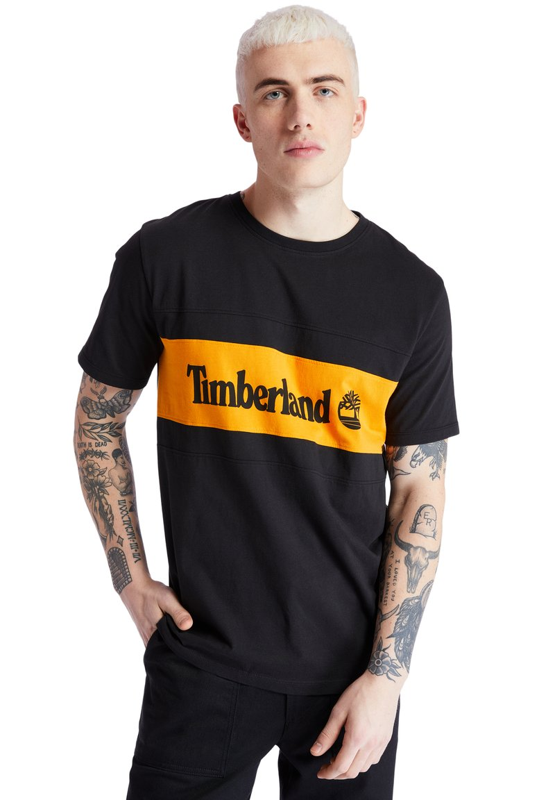 Timberland - CUT AND SEW TEE - Print T-shirt - black