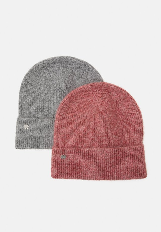 ONLBELLA LIFE BEANIE 2 PACK - Czapka - light grey melange/salmon