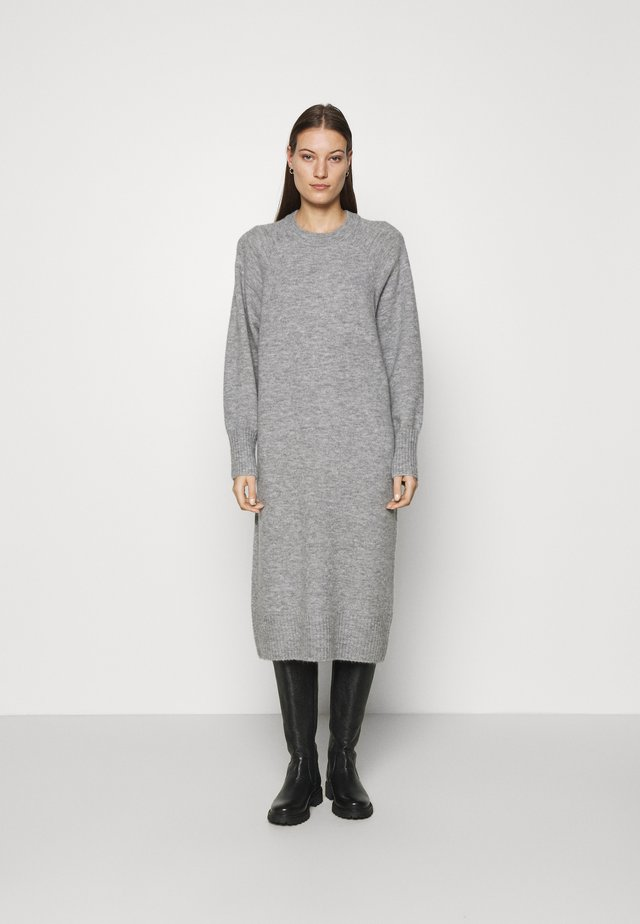 MIDI LENGTH DRESS - Gebreide jurk - grey marl