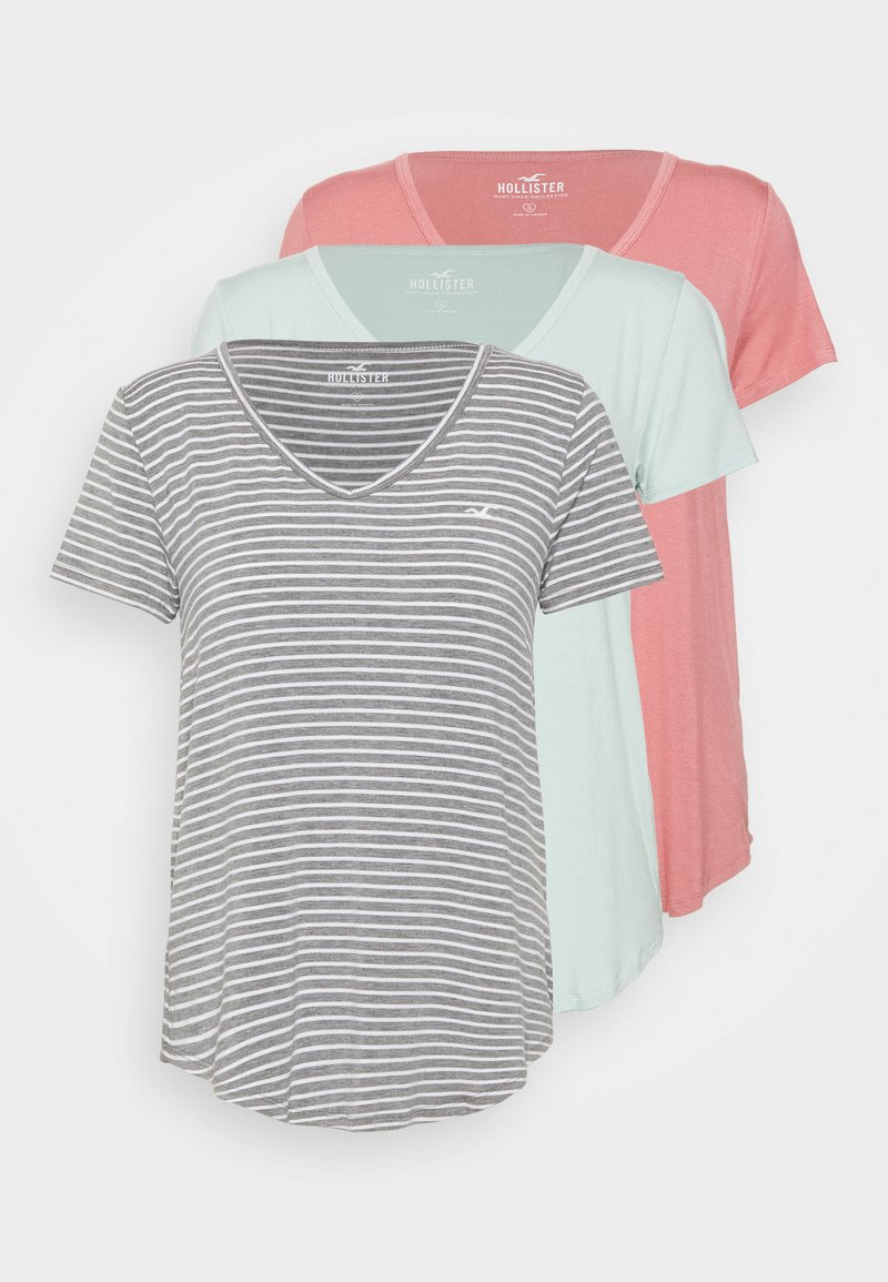 Hollister Co. - EASY 3 PACK - Print T-shirt - grey/dusty rose/surf spray