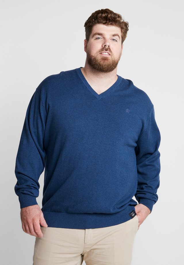 V-NECK - Jumper - storm blue melange
