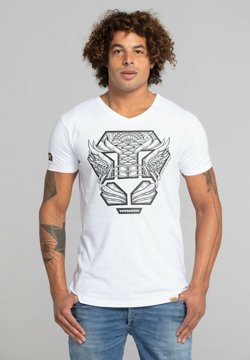 Liger - LIMITED TO 360 PIECES - LUCKY DUBZ - ORIGAMI - Print T-shirt - white