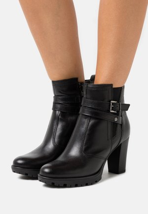 LEATHER - Botines con plataforma - black