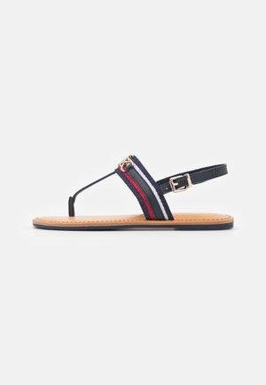 SHIMMERY FLAT  - T-bar sandals - desert sky
