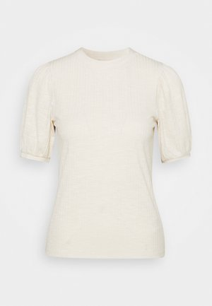 BALLOON SLEEVE TEE - Basic T-shirt - soft creme beige