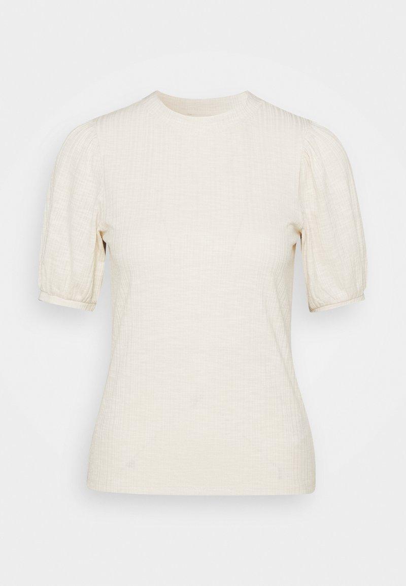 TOM TAILOR DENIM - BALLOON SLEEVE TEE - Basic T-shirt - soft creme beige