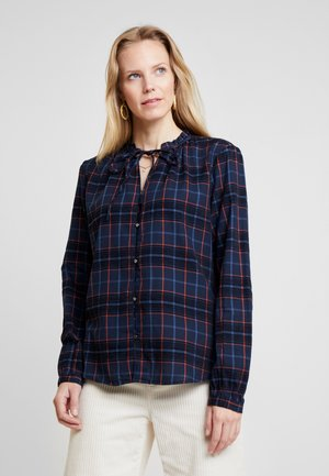 BLOUSE WITH TIED NECK - Button-down blouse - navy