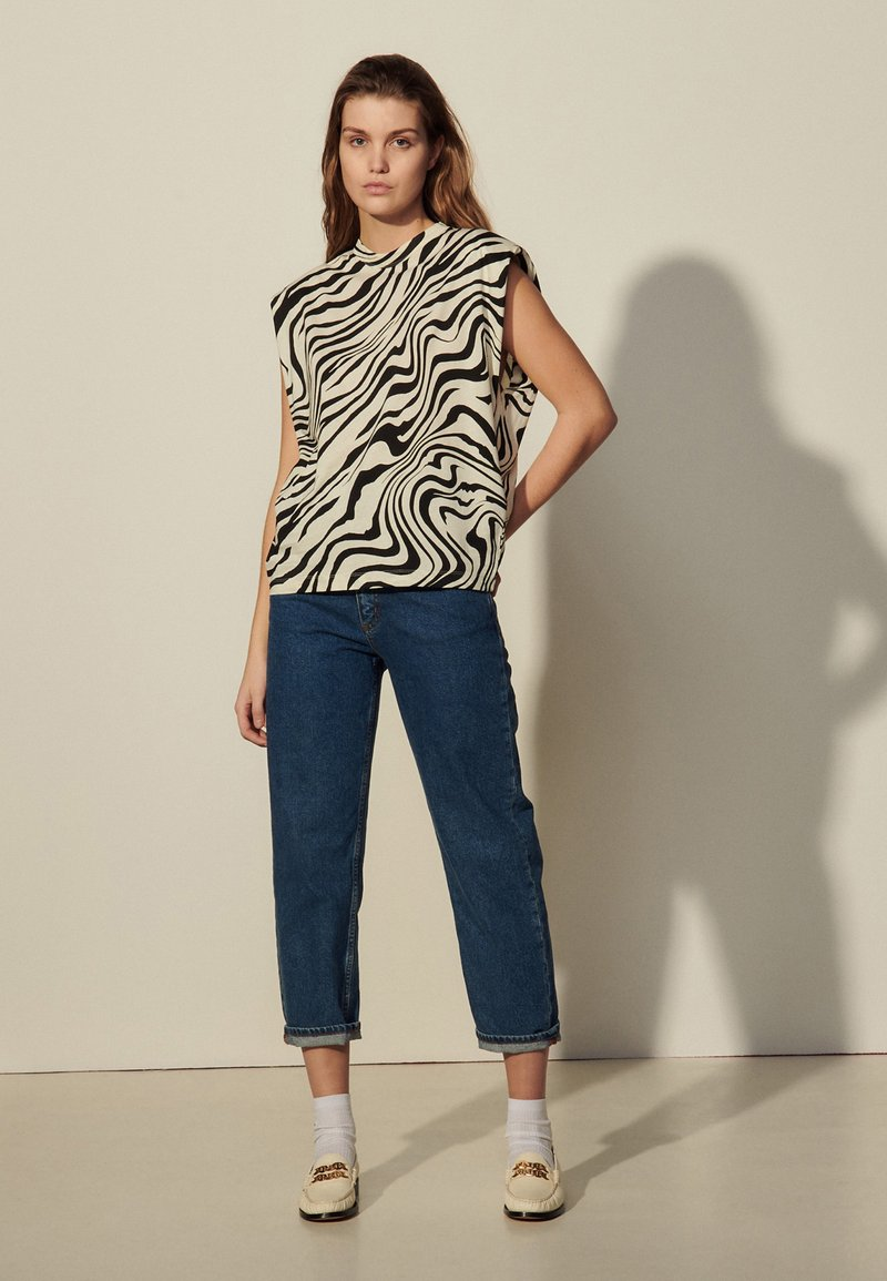 sandro - KERRY - Print T-shirt - ecru