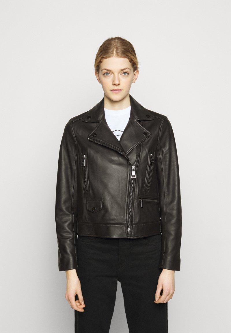 KARL LAGERFELD - IKONIK  BIKER JACKET - Leather jacket - black