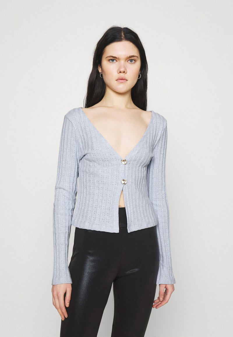 Nly by Nelly - BUTTON DOWN CARDIGAN - Cardigan - light blue