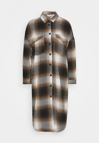 NMFLANNY ELA SHAKET - Zimní kabát - beige/ brown/ black