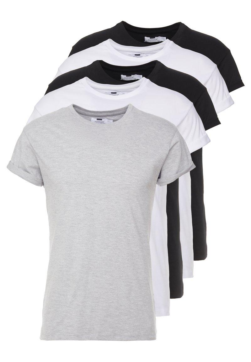 Topman - 5 PACK - Basic T-shirt - white/black/grey
